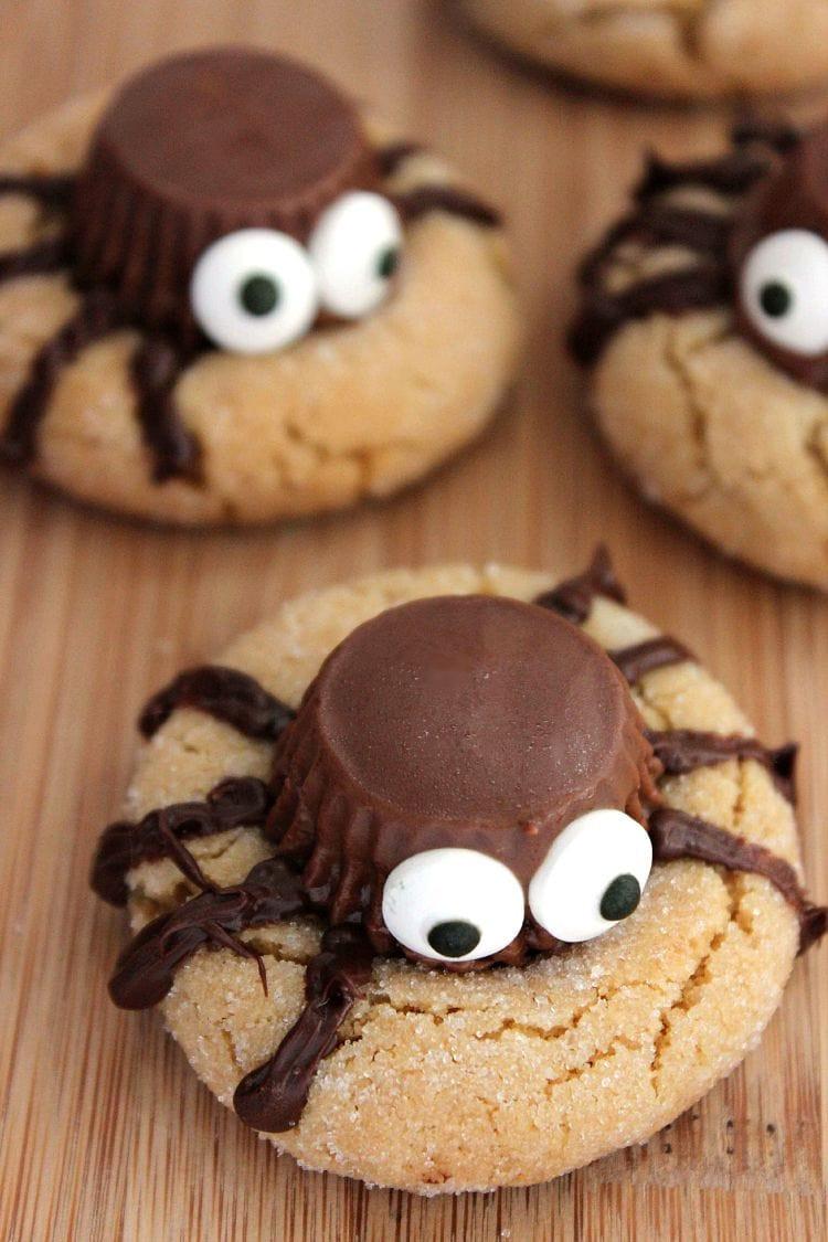 Halloween Cookies Recipes  Halloween Peanut Butter Spider Cookies Recipe