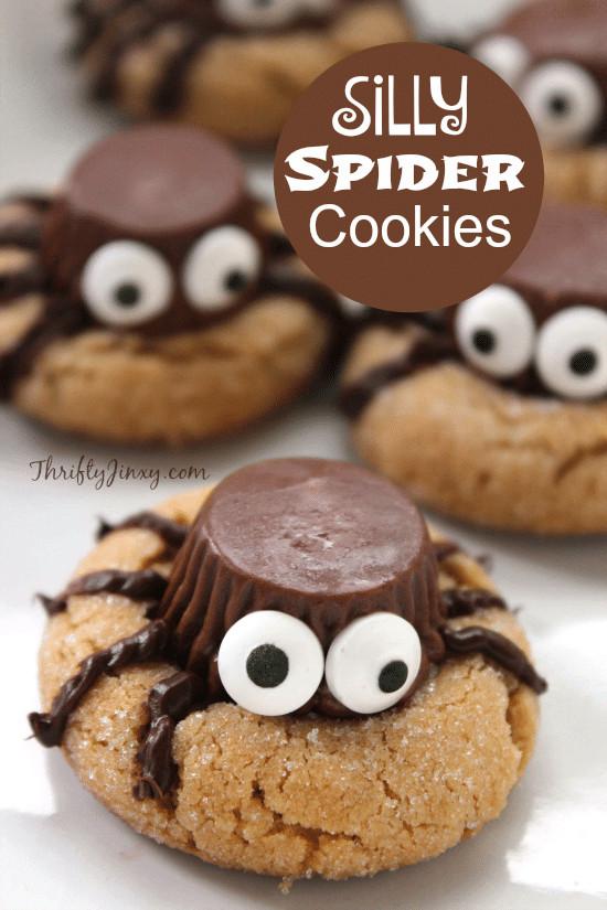 Halloween Cookies Recipes  Silly Halloween Spider Cookies Recipe Thrifty Jinxy