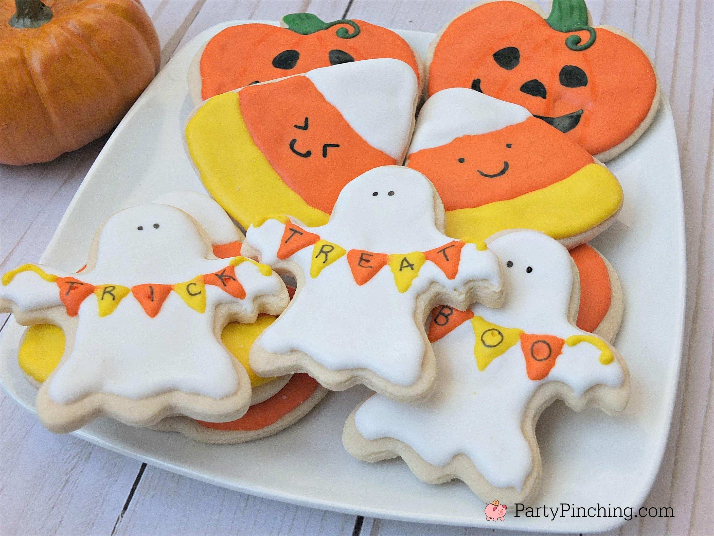 Halloween Cookies Royal Icing  Halloween sugar cookies decorated ghost banner cookies