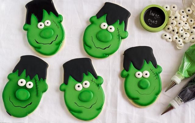 Halloween Cookies Royal Icing  Easy Frankenstein Cookies