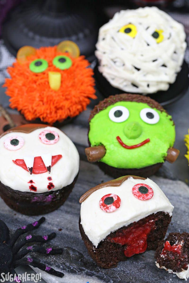 Halloween Cupcake Cakes  Stuffed Halloween Cupcakes SugarHero