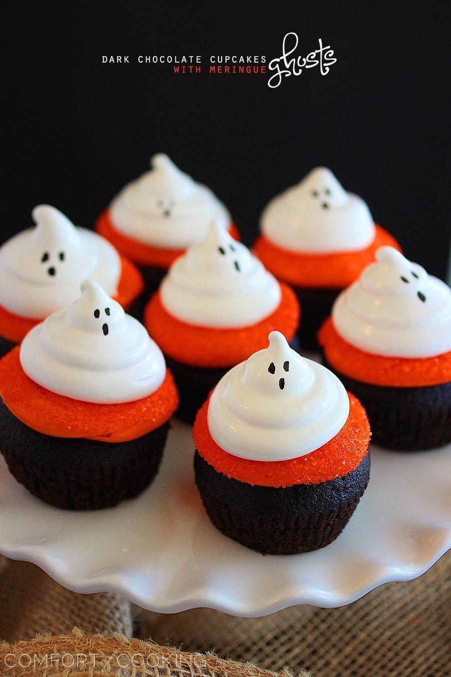 Halloween Cupcake Cakes  Dark Chocolate Cupcakes with Meringue Ghosts
