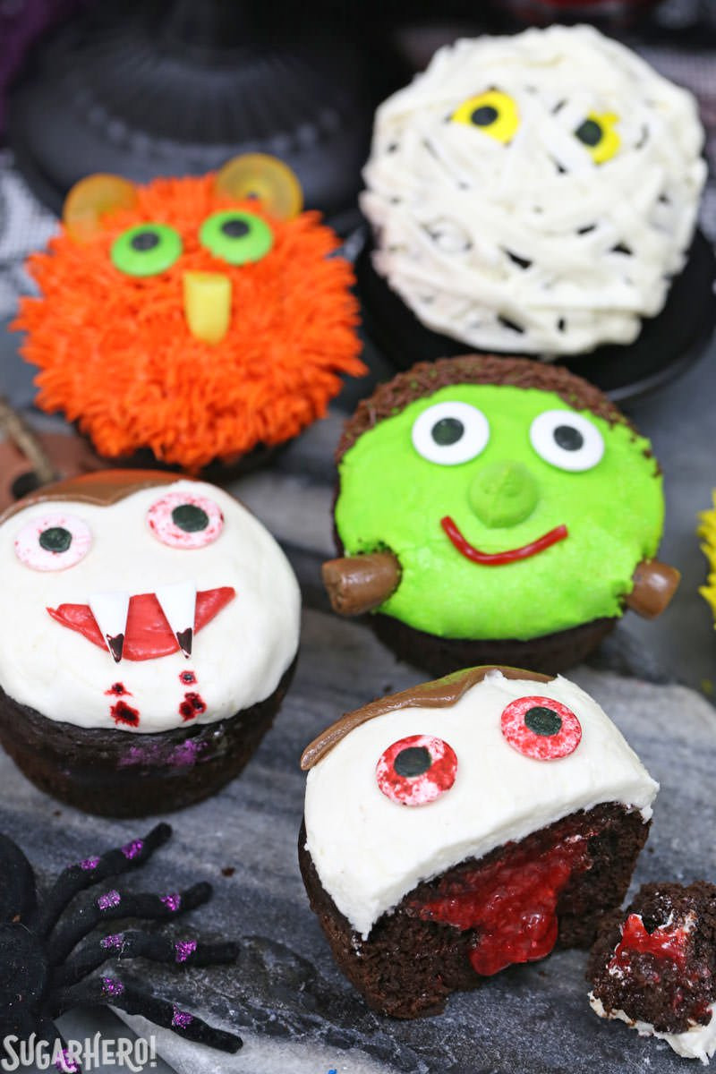 Halloween Cupcakes Designs  Stuffed Halloween Cupcakes SugarHero