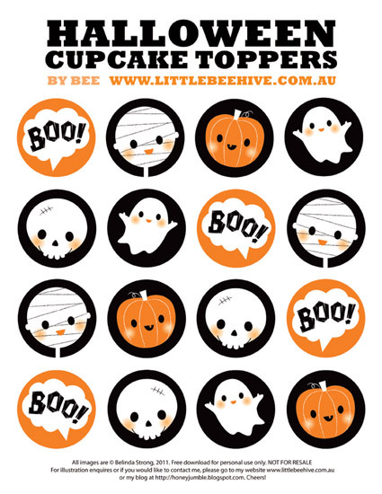 Halloween Cupcakes Toppers  Be Different Act Normal 7 Free Printable Halloween