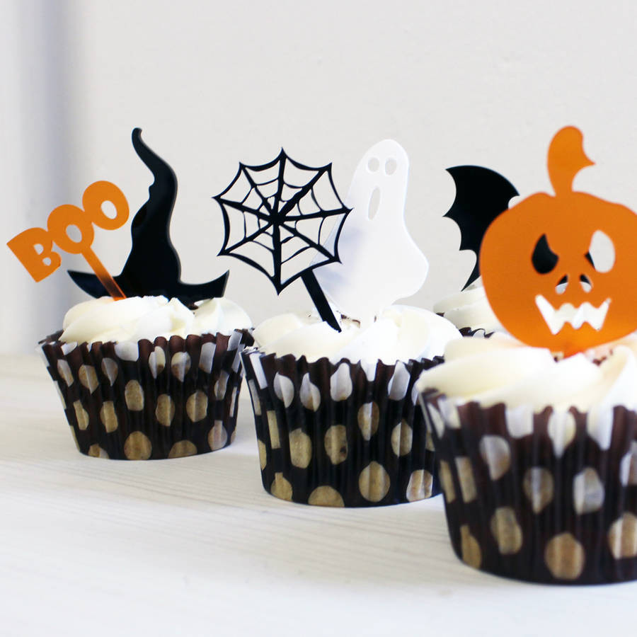 Halloween Cupcakes Toppers  halloween mini cake toppers set of six by rocket and fox