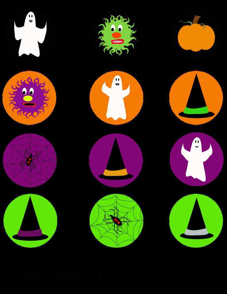 Halloween Cupcakes Toppers  Printable Halloween Party Pack Sampler