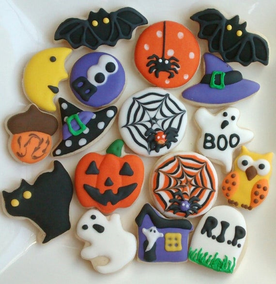 Halloween Cutout Cookies  Halloween sugar cookies mini or large decorated with royal