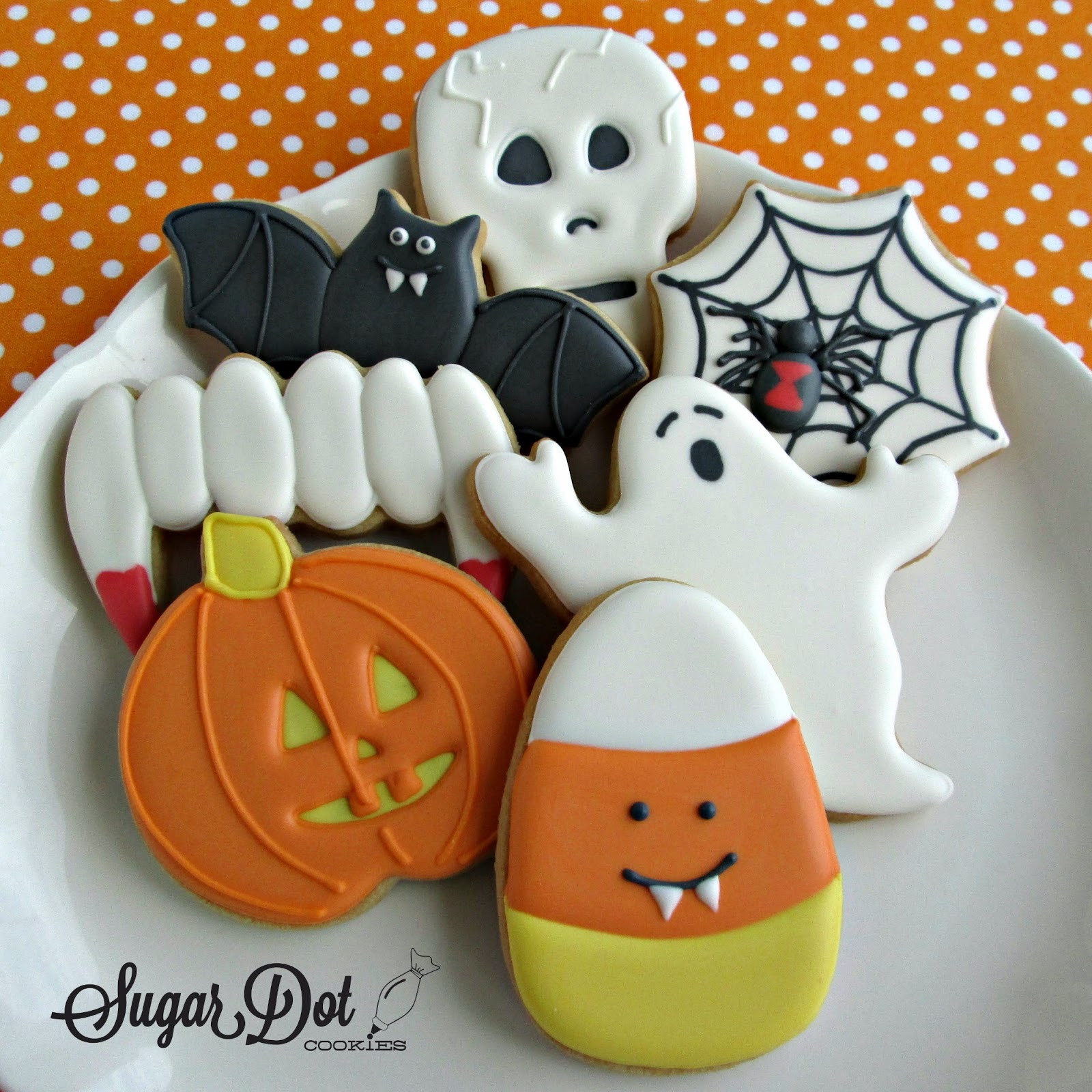 Halloween Decorated Sugar Cookies  The table all set for the party to begin