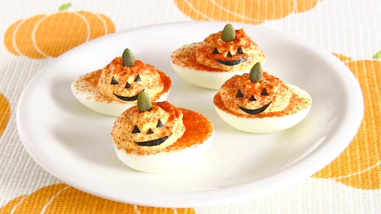 Halloween Deviled Eggs Recipes  HALLOWEEN Jack O Lantern Deviled Eggs Recipe ハロウィン デビルド
