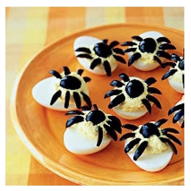 Halloween Deviled Eggs Spider  Spider deviled eggs Halloween