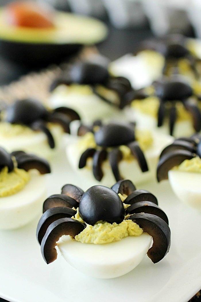Halloween Deviled Eggs Spider  Spider Avocado Deviled Eggs Yummy Healthy Easy