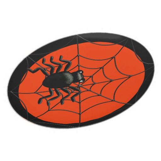 Halloween Dinner Plates  Spider and Web Halloween Dinner Plate