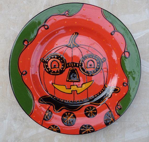 Halloween Dinner Plates  Halloween Ceramic Pumpkin Spectacles Dinner Plate by