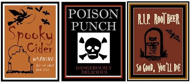 Halloween Drinks Labels  Kid Friendly Halloween Drink Labels