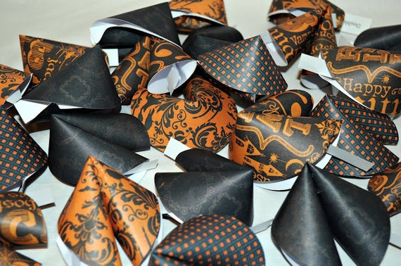 Halloween Fortune Cookies  Halloween Paper Fortune Cookies Spooky Fortunes Set of 24