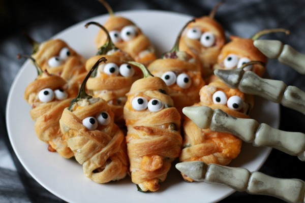 Halloween Jalapeno Poppers  Halloween Mummy Jalapeno Poppers The Lucky Pear