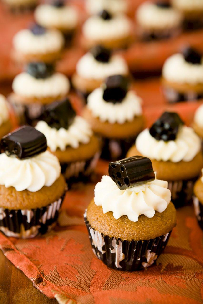 Halloween Mini Cupcakes  Mini Black Licorice Cupcakes for Halloween