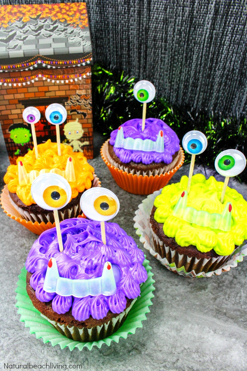 Halloween Monster Cupcakes  Easy to Make Halloween Monster Cupcakes Natural Beach Living