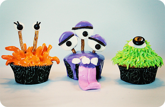 Halloween Monster Cupcakes  Little Lovables Colorfully Delicious Halloween