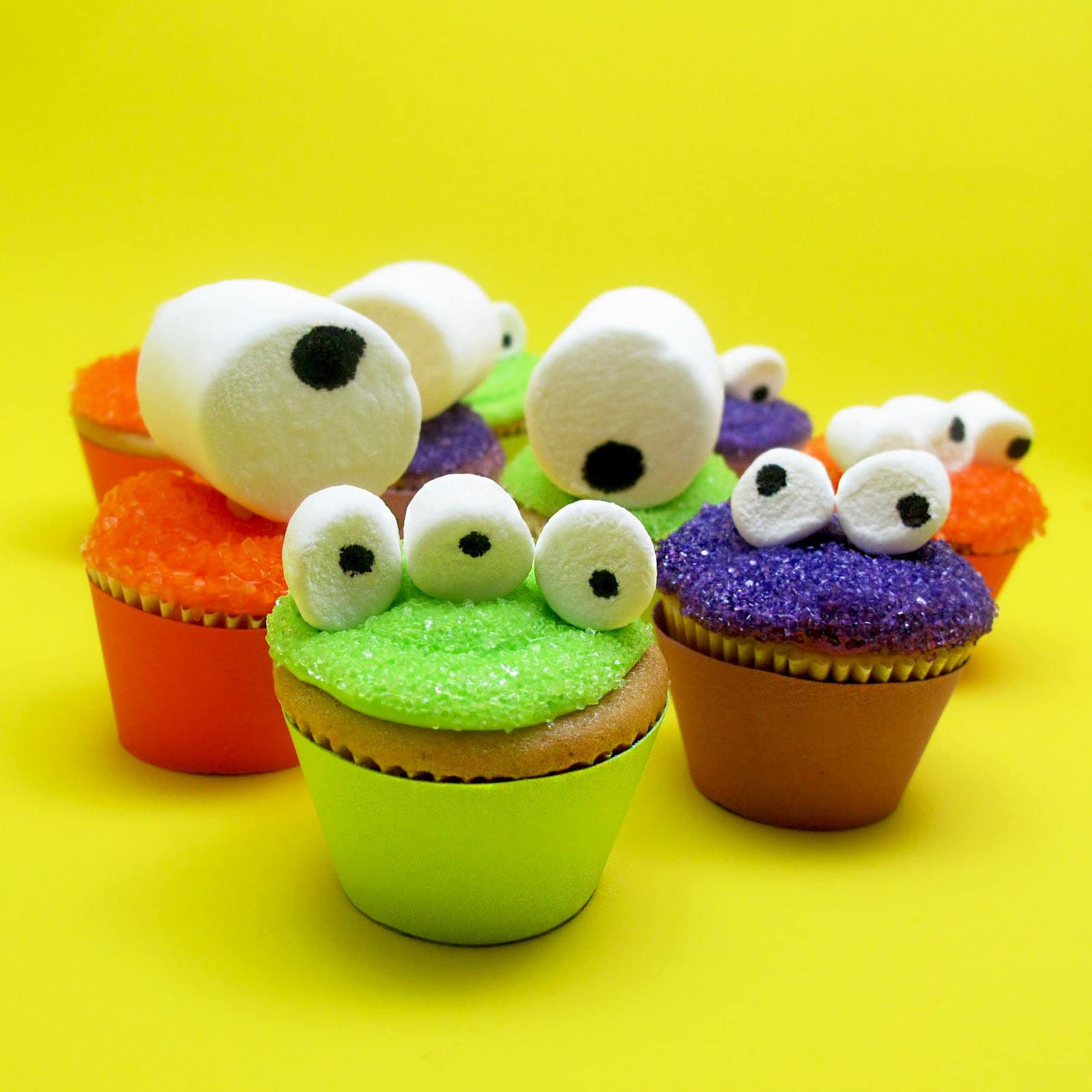 Halloween Monster Cupcakes  mini monster cupcakes for an easy Halloween treat idea