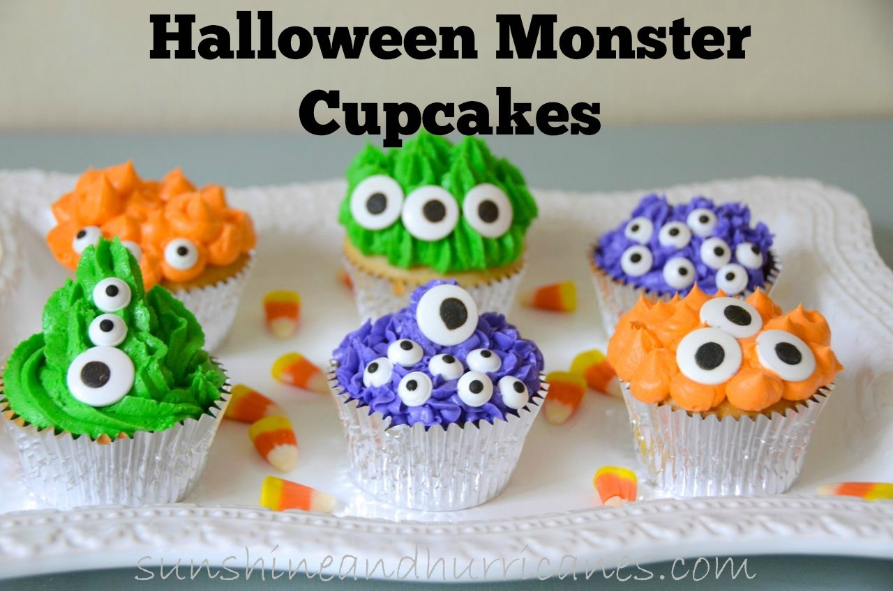 Halloween Monster Cupcakes  Halloween Monster Cupcakes Sunshine and Hurricanes