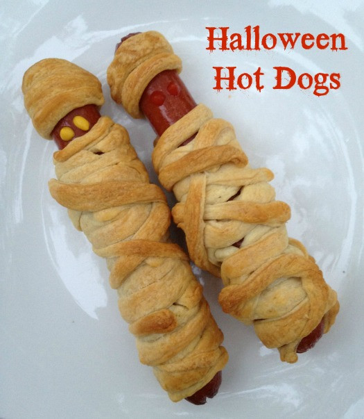Halloween Mummy Hot Dogs  Recipe Crescent Mummy Hot Dogs for Halloween