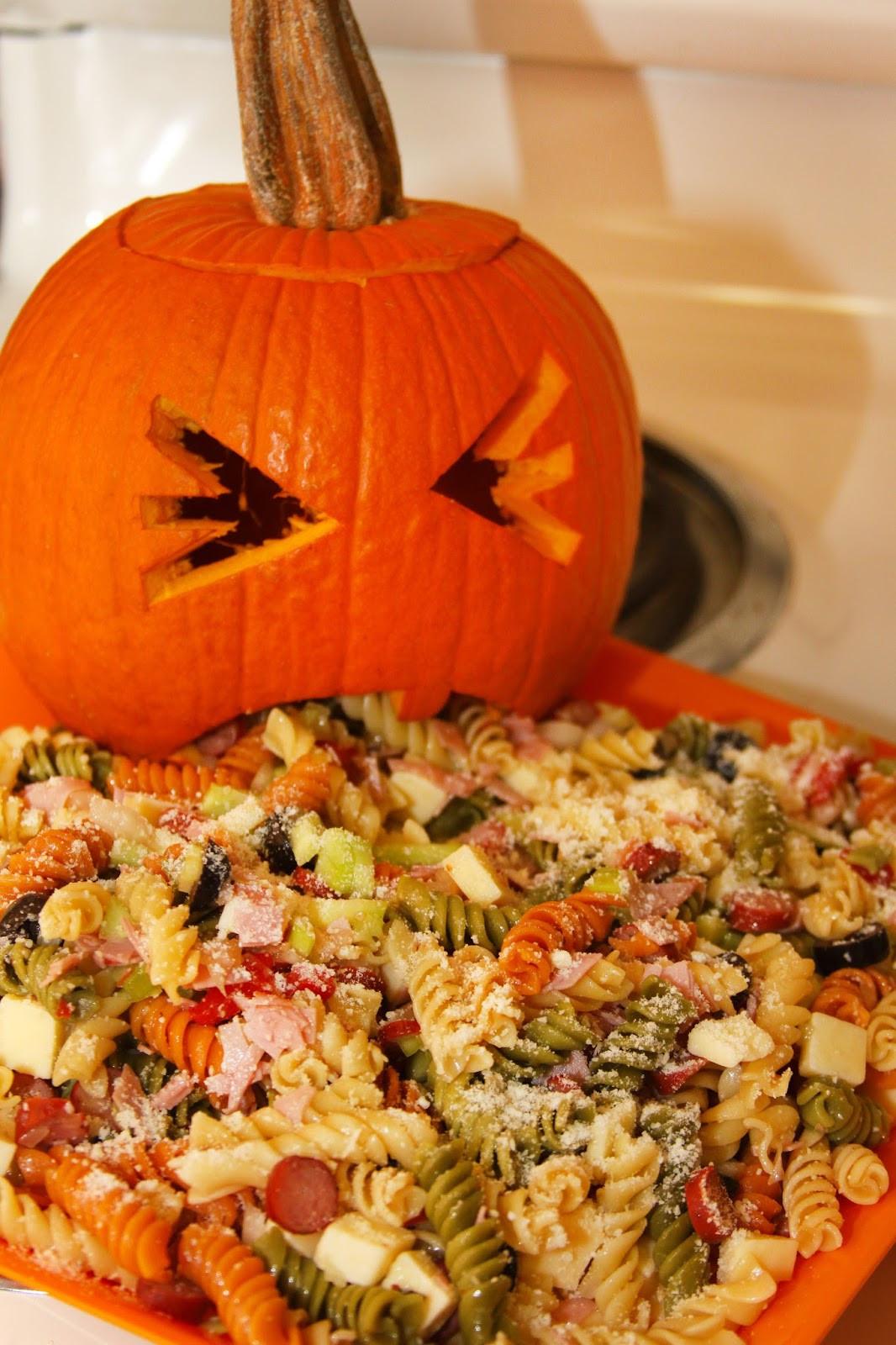 Halloween Pasta Salad  For the Love of Food Upchuckin Pumpkin Loaded Pasta
