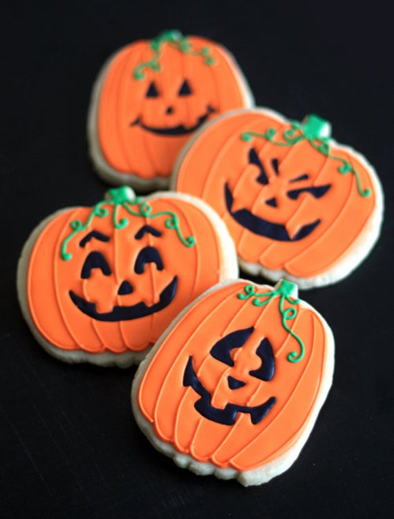 Halloween Pumpkin Cookies  Items similar to Hand Decorated Sugar Cookies Halloween