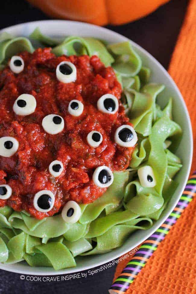Halloween Recipes Dinner  Eyeball Pasta Halloween Dinner Idea Spend With Pennies