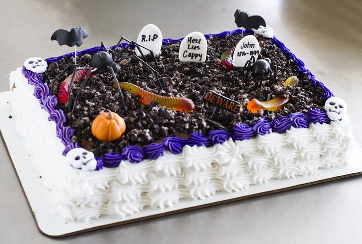 Halloween Sheet Cakes  A graveyard sheet cake with worms and spiders halloween