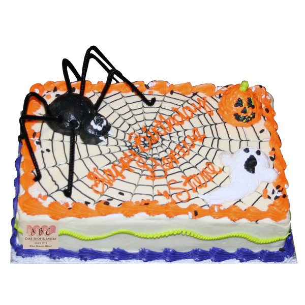 Halloween Sheet Cakes  2069 Halloween Sheet Cake with Spider & Web ABC Cake