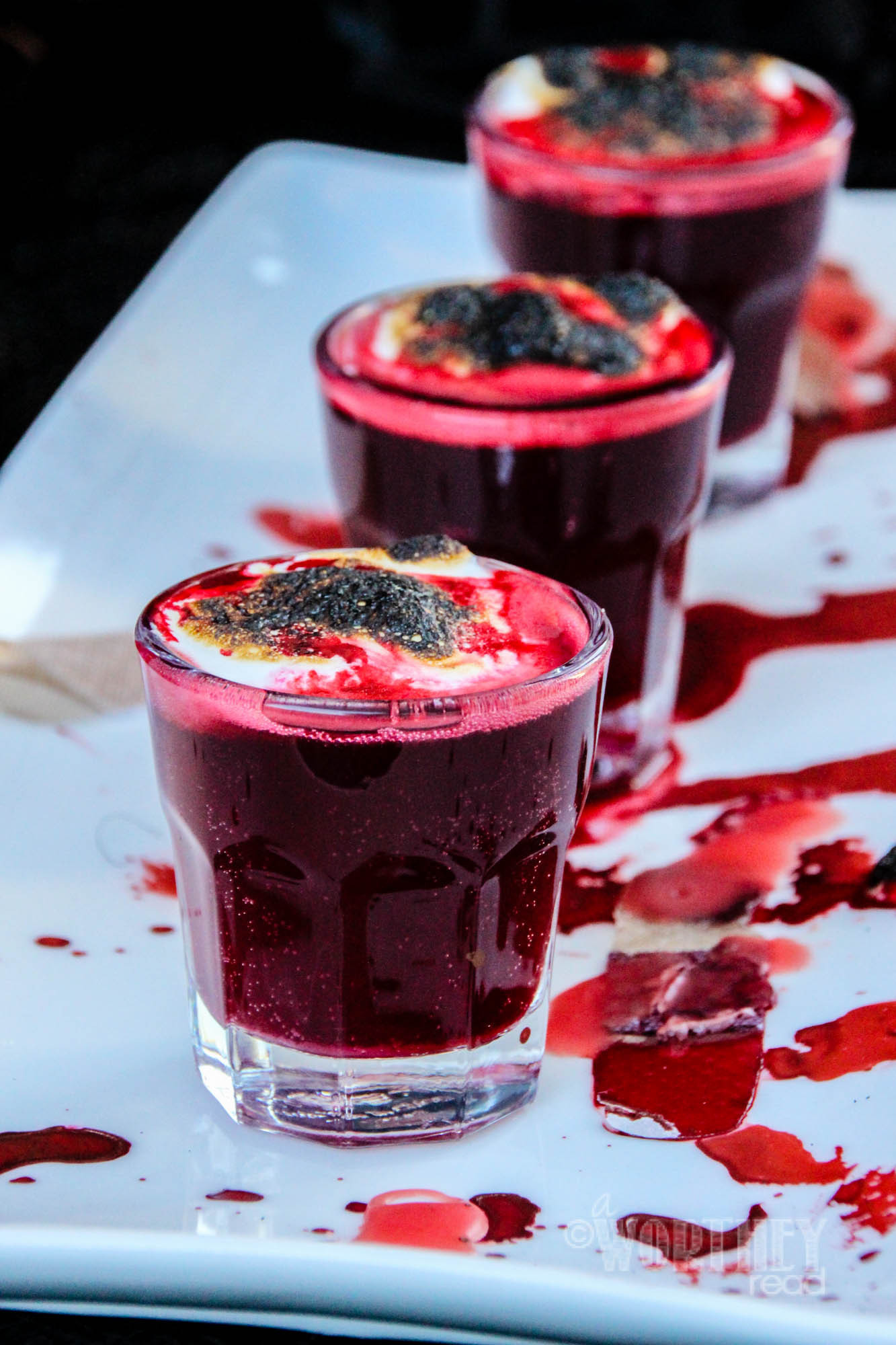 Halloween Shot Drinks  Blood Clot Shots
