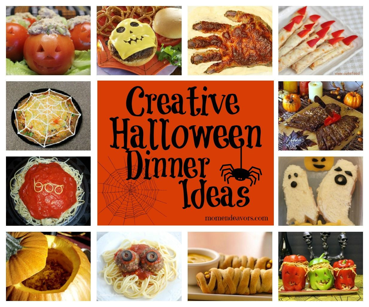 Halloween Side Dishes For Parties  Links to lots of creative Halloween dinner ideas & side