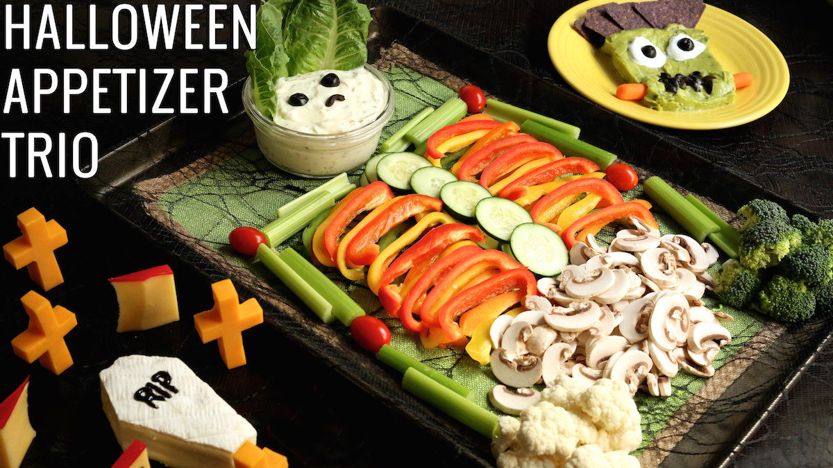 Halloween Side Dishes  Halloween Veggie Tray Appetizer Trio Recipe