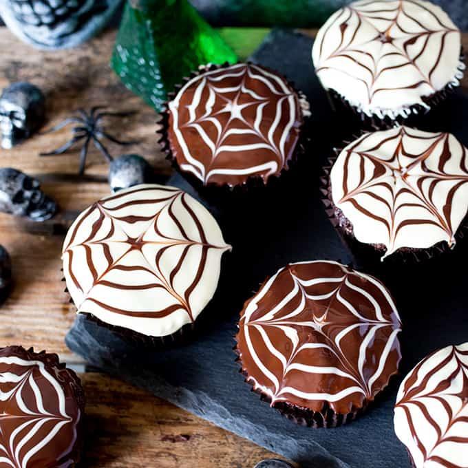Halloween Spider Cupcakes  Halloween Spider Web Chocolate Cupcakes Nicky s Kitchen