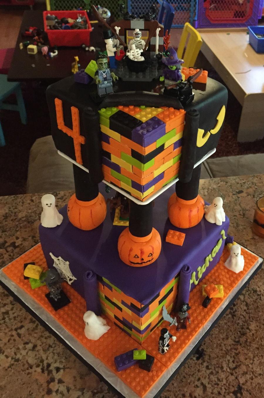 Halloween Themed Birthday Cakes  Building Blocks Halloween Themed Birthday Cake
