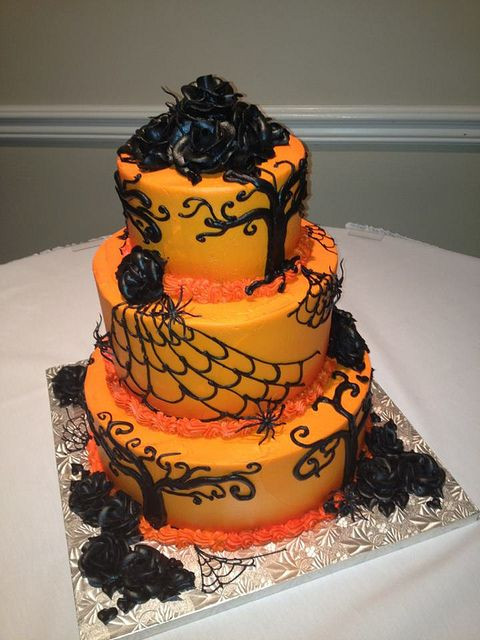 Halloween Themed Cakes  halloween orange wedding cake