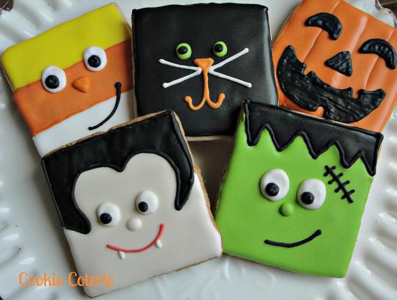 Halloween Themed Cookies  Halloween Cookies Frankenstein Vampire Candy Corn Black Cat