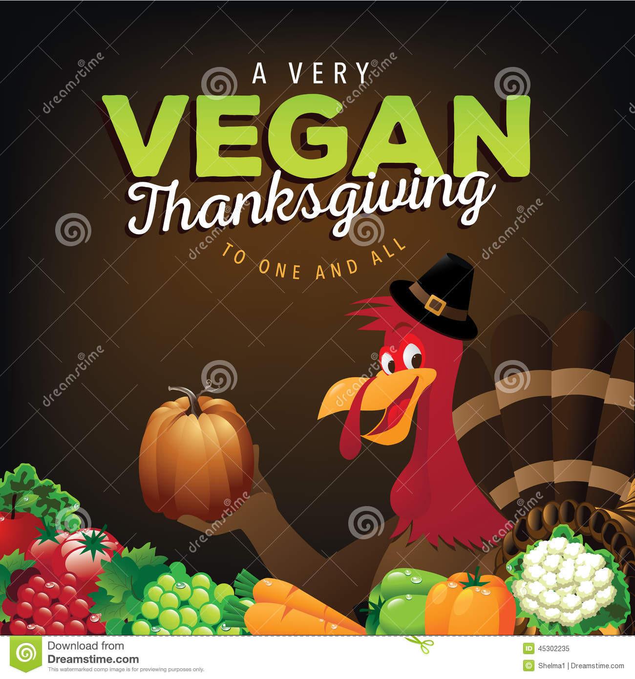 Happy Thanksgiving Vegetarian  Happy Vegan Thanksgiving Greeting Card Design Stock Vector