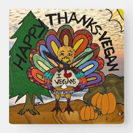 Happy Vegan Thanksgiving  Happy Thanks Vegan Thanksgiving Turkey Wall Clock