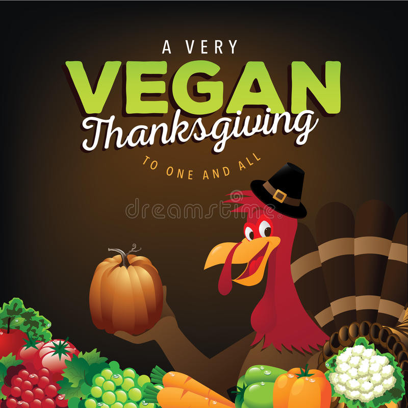 Happy Vegan Thanksgiving  Happy Vegan Thanksgiving Greeting Card Design Stock Vector