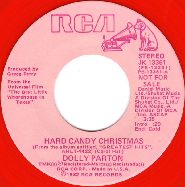 """Hard Candy Christmas By Dolly Parton  Dolly Parton Hard Candy Christmas Vinyl 7"""" Single"""