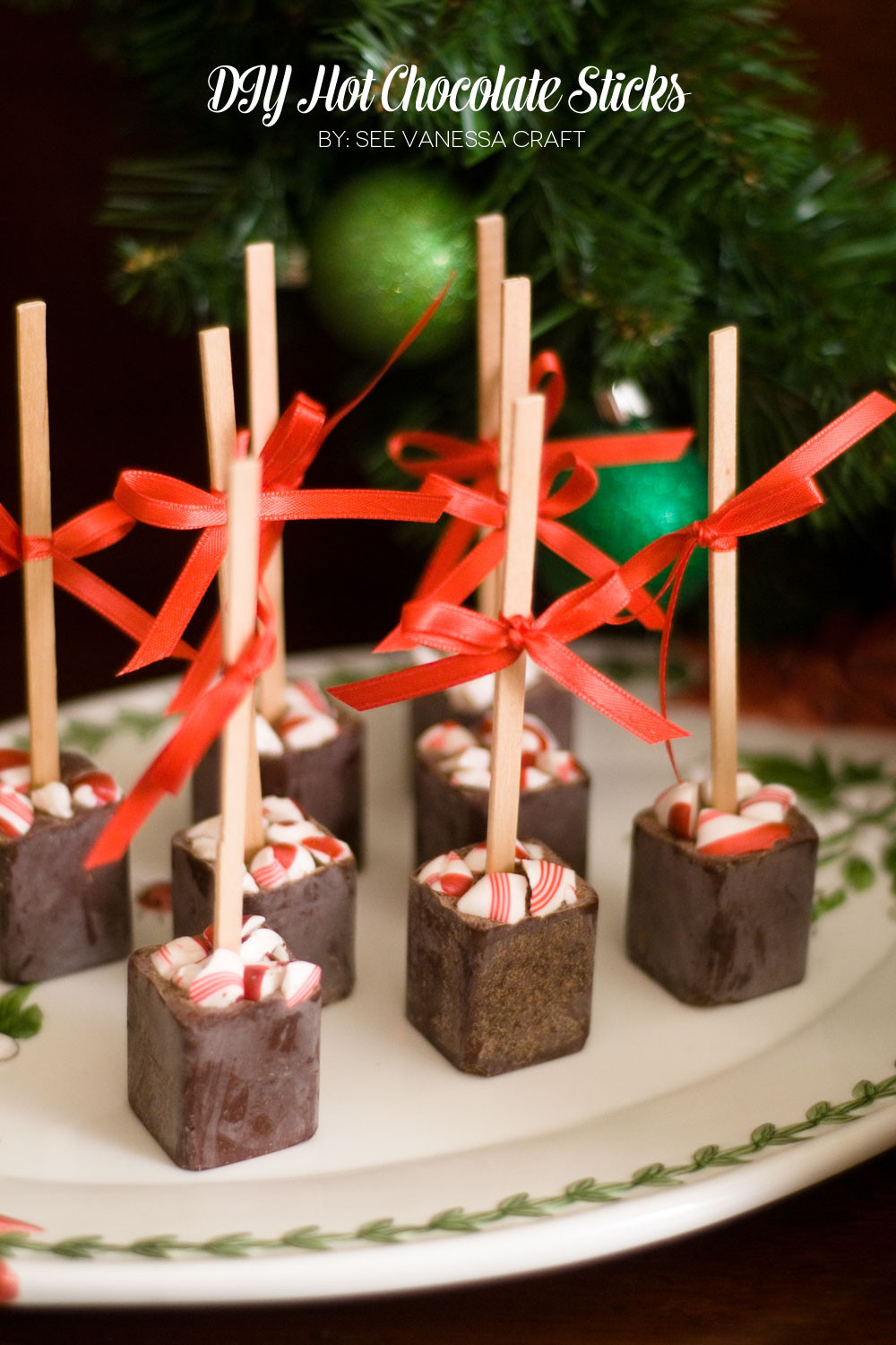 Homemade Christmas Candy Gifts  handmade holiday party diy hot chocolate on a stick