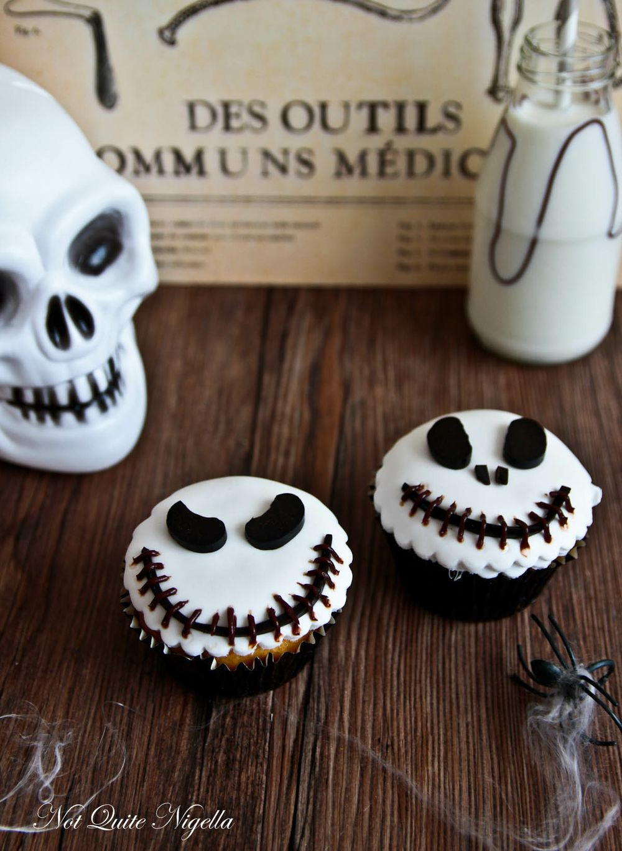 Homemade Halloween Cupcakes  Jack Skellington Cupcakes Not Quite Nigella