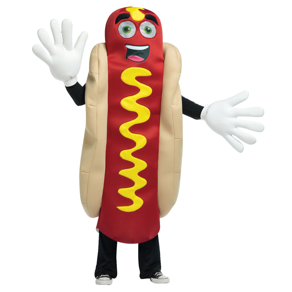 Hot Dog Halloween Costume For Dogs  Adult Waving Hot Dog Mascot Halloween Costume