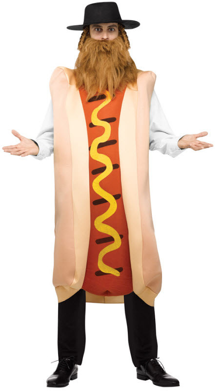 Hot Dog Halloween Costumes For Dogs  Men s Kosher Hot Dog Costume Adult Costumes