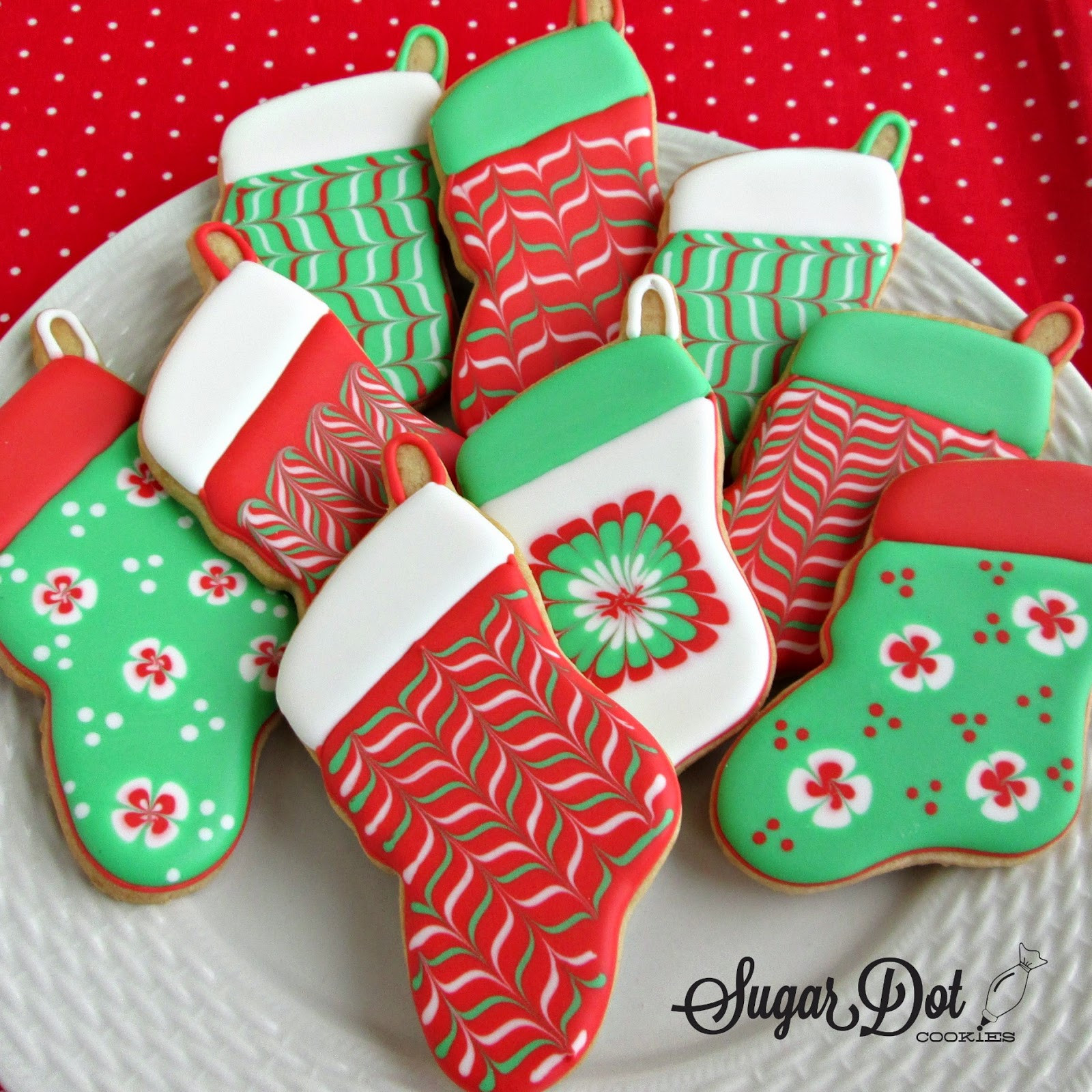 Iced Christmas Cookies  Christmas Trees sprinkles decorated snow covered A