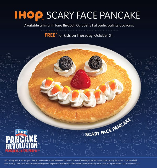 Ihop Free Pancakes Halloween  Halloween Freebies 2013 Free Scary Face Pancakes From IHOP