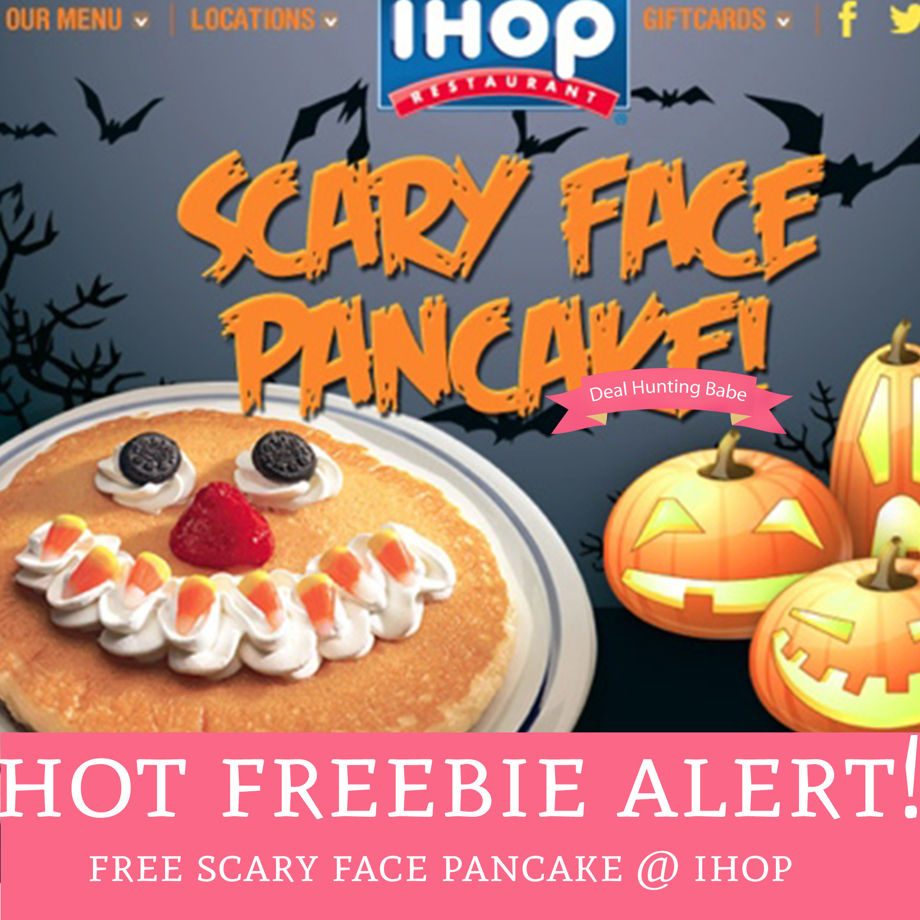 Ihop Halloween Free Pancakes 2019  FREE Scary Face Pancakes IHOP Deal Hunting Babe