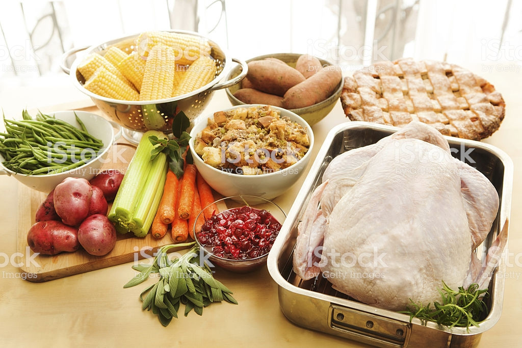 Ingredients For Thanksgiving Turkey  Turkey And Raw Ingre nts For Thanksgiving Dinner